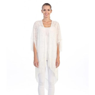 Hadari Women's Fringe Open Knit White Cardigan