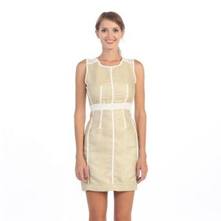 Hadari Women's Beige and White Sheath Dress