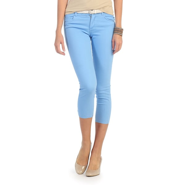 Hadari Women's Light Blue Belted Skinny Pants
