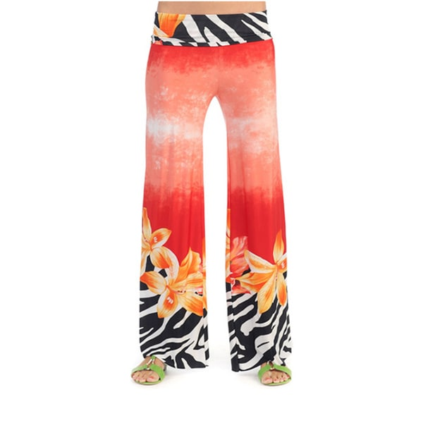 Hadari Women's Tropical Palazzo Pants