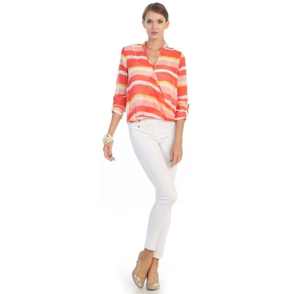 Hadari Women's Orange Striped Sheer Blouse