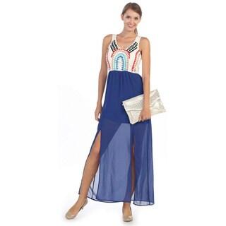 Hadari Women's Royal Blue Abstract Spaghetti Strap Dress