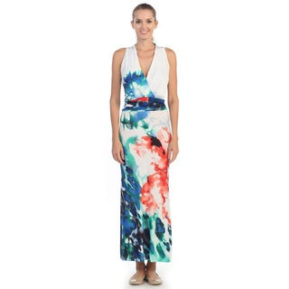 Hadari Women's White Tropical Print Surplice Maxi Dress