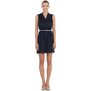 Hadari Women's Navy Button-up A-line Sundress