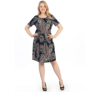 Hadari Women's Plus Size Paisley Print A-line Dress