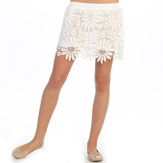 Hadari Women's White Daisy Crocheted Mini Skirt