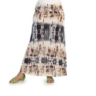 Hadari Women's Plus Size Taupe and Navy Tie-dye Maxi Skir