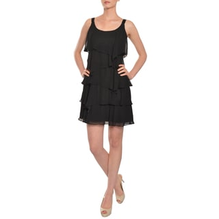 Calvin Klein Women's Flirty Tiered Chiffon Beaded Evening Party Dress