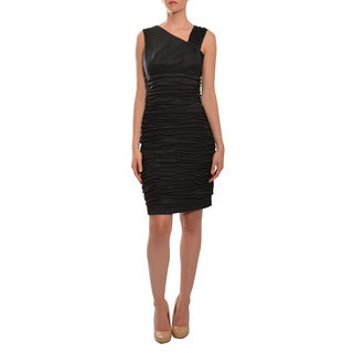 Calvin Klein Women's Flattering Black Ruched Asymmetric Cocktail Party Eve Dress