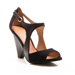 NVY Women's 'Sabine' Two-tone Open-toe Ankle Strap Pump