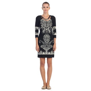 Hadari Women's Black and Ivory Paisley Print Dress