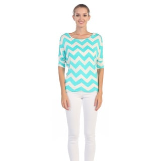 Hadari Women's Aqua and White Chevron Print Blouse
