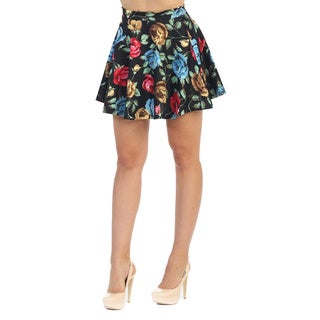 Hadari Women's Black Rose Print Mini Skirt
