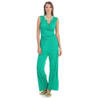 Hadari Women's Green Surplice Jumpsuit