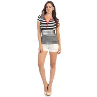 Hadari Women's Navy Short Sleeve Henley Top
