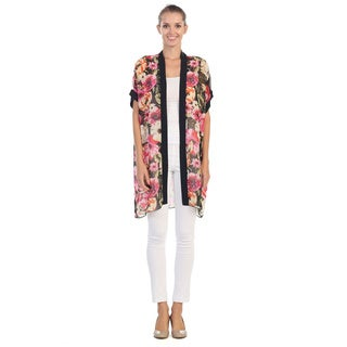 Hadari Women's Floral Print Sheer Open Cardigan