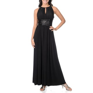 R & M Richards Women's Gown with Sequin Waist and Keyhole Neckline