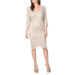R & M Richards Women's Lace and Sequin Dress with Matching Jacket