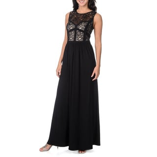 R & M Richards Women's Lace Bodice Gown