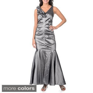 R & M Richards Women's Taffeta Metallic Ruched Gown