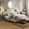 INSPIRE Q Grace Beige Linen Button Tufted Arched Bridge Upholstered Bed