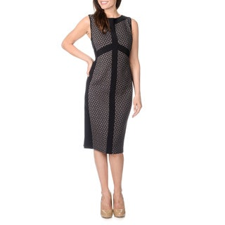 R & M Richards Women's Black/ Taupe Graphic Pattern Dress