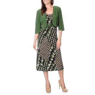 R & M Richards Women's Green Printed 2-piece Dress Set