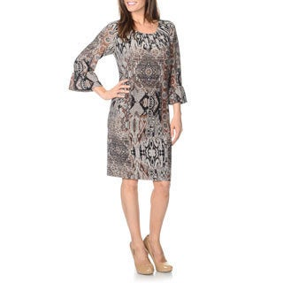 R & M Richards Women's Black/ Grey Lightweight Knit Dress