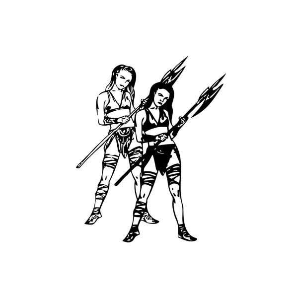 Two Amazons Girls Vinyl Wall Art