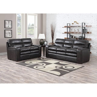 Mercer Dark Brown Italian Leather Sofa and Leather Loveseat