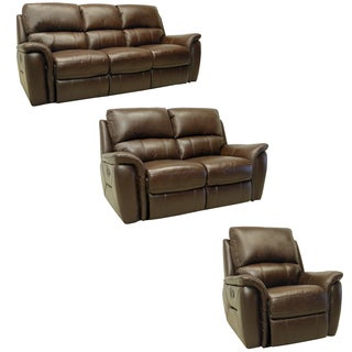 Porter Brown Leather Reclining Sofa, Loveseat and Glider/Recliner