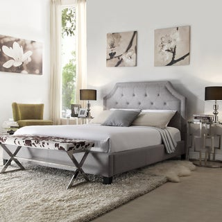 INSPIRE Q Grace Grey Linen Button Tufted Nailhead Upholstered King Bed