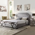 INSPIRE Q Grace Grey Linen Button Tufted Arched Bridge Upholstered King-sized Bed