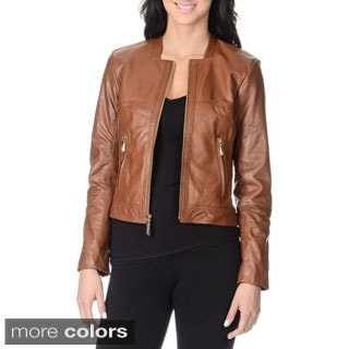 Vince Camuto Women's 100-percent Genuine Leather Fashion Jacket