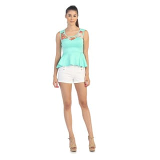 Hadari Women's Mint Floral Yoke Peplum Top