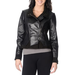 Vince Camuto Women's 100-percent Genuine Leather Fashion Jacket with Suede Details