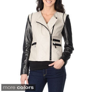 Vince Camuto Women's 100-percent Genuine Leather Fashion Colorblock Jacket