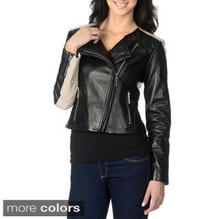 Vince Camuto Women's Genuine Leather Colorblocked Fashion Jacket