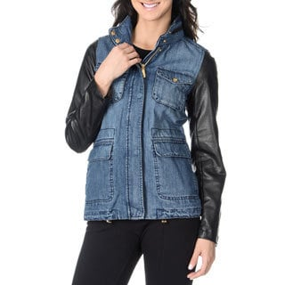 Vince Camuto Women's Denim and Faux Leather Anorak