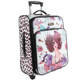 Nicole Lee White Sunny 21-inch Expandable Rolling Carry-on Laptop Upright Suitcase