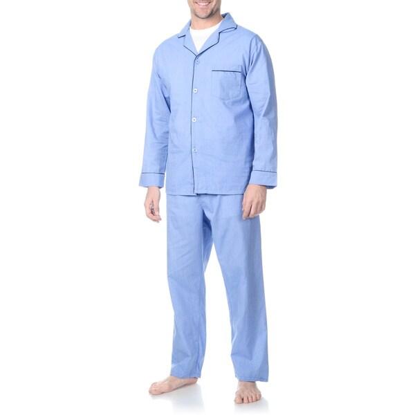 Hanes Men's Big and Tall Blue Woven Pajama Set 22799762