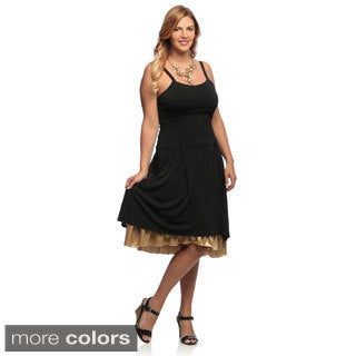Evanese Women's Plus Size Double Layered Cocktail Dress