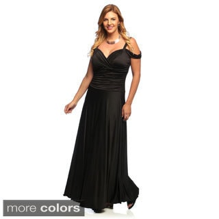 Evanese Women's Plus Size Shiny Venezia Long Dress with Shoulder Bands