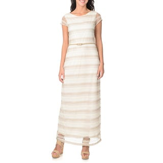 Sharagano Women's Ivory and Taupe Crocheted Maxi Dress
