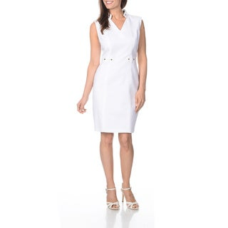 Sharagano Women's White Sleeveless Career Dress