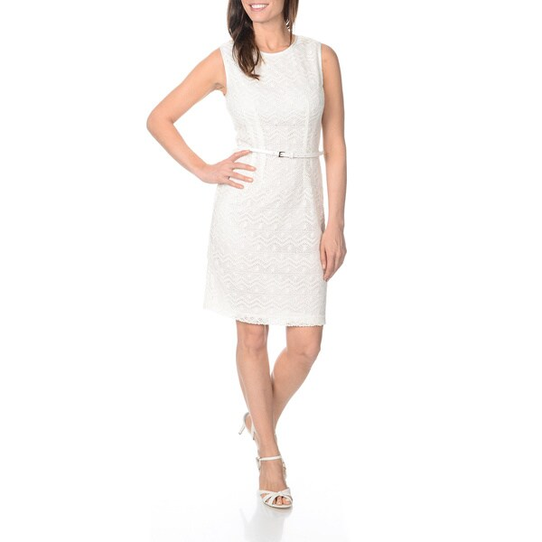 Sharagano Women's Ivory Knit Lace Belted Dress