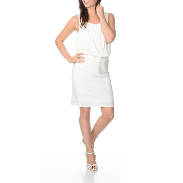 Sharagano Women's Ivory Textured Pattern Jersey-knit Dress
