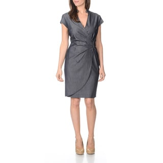Sharagano Women's Indigo Faux Wrap Dress
