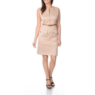 Sharagano Women's British Tan Side-pocket Sleeveless Dress
