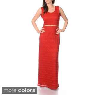 Sharagano Women's Knit Maxi Dress with Belt